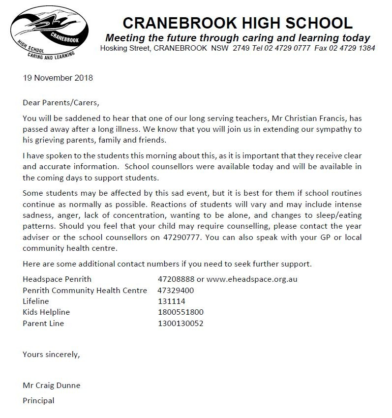 Please see this important letter for our school community